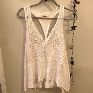 Hollister woven lace-front v-neck tank